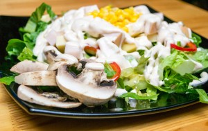#salad, #corn, #mushrooms, #pepper
